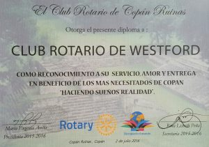 Copan Ruinas Certificate of Appreciation